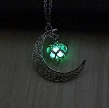 Glow in the Dark Heart Pendant Necklace Silver Locket Moon Jewellery Gift - UK