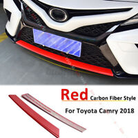 Red Carbon Fiber Style Bumper Grille Moulding Cover Trim For Toyota Camry
