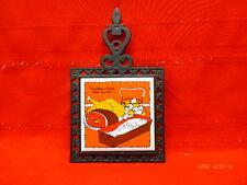 Vintage Seven Star Trivet Cast Iron & Ceramic Tile The Basic Foods Wall Art