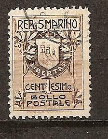 SAN MARINO # 78a Used ( Type 1 ) COAT OF ARMS