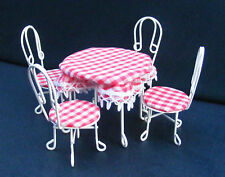 1:12 Scale Garden Conservatory Metal Patio Table & 4 Chairs Tumdee Dolls House