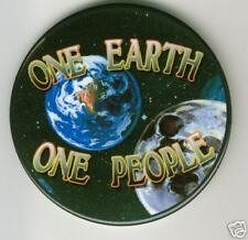 ONE EARTH  ONE PEOPLE  PINBACK PEACE CAUSE PIN SPACE BY KIRKLAND  3 INCHES