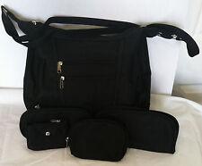 QVC Black Shoulder Cross Body Bag Microfiber Set Of 4 PC Strap Drop 22