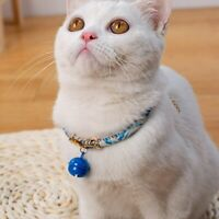 Pet Japanese Style Collar Dog Cat Handmade Adjustable Cotton Necklace with Bell