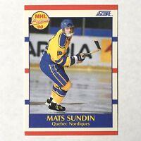 Mats Sundin Quebec Nordiques Center 1990 Score HNL Prospect Rookie Card #398
