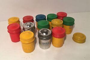 13 Vintage Colorful Metal Kodak Camera 35 mm Film Canisters Screw Cap +Extra Lid