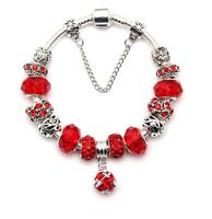 Women's Silver Plated Charm Bracelet Red European Crystal Charms Bangle Gifts