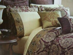 NIP Croscill 4pc KING Sheet Set Traviata Plum/Gold 100% Cotton Sateen