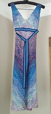 MISSONI Orange Label Blue Purple Zigzag Crochet Embroidered Dress 4 6 / 40 42