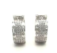 Women's 14K White Gold Finish Hoops Earrings Genuine 925 Sterling Silver Huggies