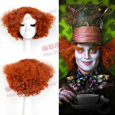 Alice Mad Hatter Party Hair Short Curly Orange Color Men Movie Cosplay Wig