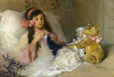 DOLL TEDDY BEAR child girl bed CROCHETING antique Home decor CANVAS ART PRINT