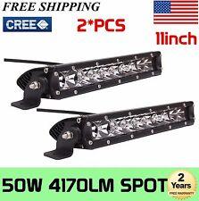 2X 50W 11INCH Single Row CREE LED OFFROAD Light Bar Spot LAMP UTE 4WD Jeep 6000K