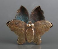 CHINESE OLD BRONZE CARVED BUTTERFLY STATUE UNIQUE INK BOX COLLECTION SECRET BOX