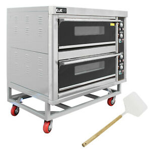 Commercial Pizza Baking Oven Large Twin Deck Single Phase Electric 12x10in 6.6kW