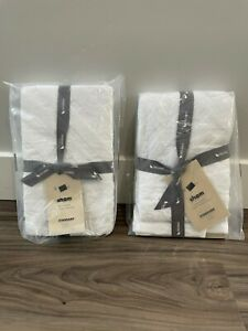 Set of 2 West Elm Parquet Texture Standard Shams - White New With Tags