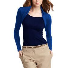 Womens Fitted Long Sleeve Cardigan Shrug Cropped Top Casual Bolero Jacket ac1122