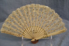 Vintage Child's Lace and Sequin Folding Hand Fan, Hand Painted