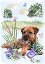 "Border Terrier Dog A6 (4"" x 6"") Blank Card Design No 11 By Starprint"