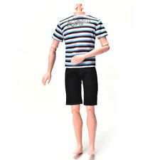 Striped Shirt Suit for Ken Doll  Cloth Black Short Pants Fashion Doll LQ