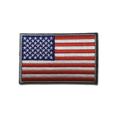 "Embroidered 3"" American US Flag Silver Border Sew or Iron on Patch Biker Patch"