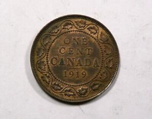 Canada King George V Large One Cent 1919 UNC with Some Mint Luster NICE