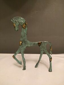 Vtg Etruscan Horse Sculpture Frederick Weinberg style 7 inches Metal Mid Century