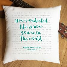 More details for elton goulding your song lyrics personalised cushion 2nd cotton anniversary gift