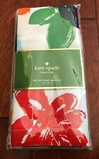 "KATE SPADE 4pc Flowerbox COTTON Dinner Napkins FLORAL 20"" Red Green Orange NWT"