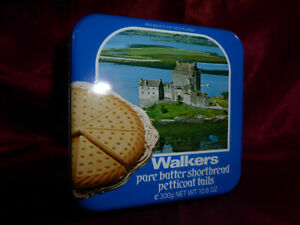 Vintage TIN Walkers Pure Butter Shortbread Petticoat Tails - Food Advertising