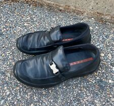 Men's PRADA Leather Driving Loafers Black W/ Silver Buckles 4403 Size 37