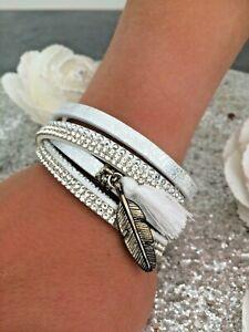 Bracelet Double Tour Wrist Woman White Rhinestone Zip Magnetic Silver