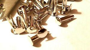 "No 9 x 5/8"" Bifurcated Rivets Mild Steel Split Leg Nickel Plated Metal Worker"