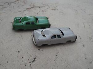 "Vtg 1960s Tin Litho Friction Toy Cars Green Grey Japan 3.75"""