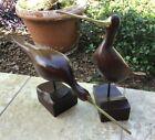 Pair of Vintage Modernist Carved Wooden and Brass Birds Sculpture