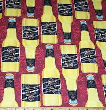 Miller Genuine Draft Beer Bottles cotton Fabric by Yard Quilt Sew