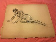 VINTAGE 1930s Chester Snowden FEMALE NUDE FIGURE STUDY CHARCOAL DRAWING SKETCH