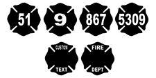 "Firefighter Fire Dept Maltese Cross Helmet Decal Sticker 4"" REFLECTIVE CUSTOM"