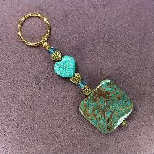 SKY JASPER KEY CHAIN Magnesite Heart Ring Gold Genuine Stones Crystals Blue