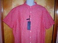 NWT NEW mens strawberry red MARC ANTHONY s/s linen blend slim fit shirt $46