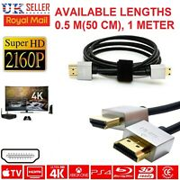 Gold Plated Ultra Slim HDMI V1.4 (19Pin) Male CABLE LEAD SMART HD TV HDTV 3D
