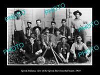 OLD LARGE HISTORIC PHOTO OF SPEED INDIANA, THE SPEED STARS BASEBALL TEAM c1910