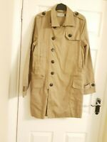 TOPMAN MENS BEIGE TRENCH COAT SIZE SMALL CONDITION USED