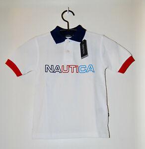 NWT Nautica Little Boys White Multicolor Logo SS Pique Polo Shirt sz 4 5 6 7