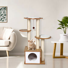 """New listing 42"""" Wooden Cat Tree Condo Scratch Post Play House Gym With Toy Pet Furniture"""