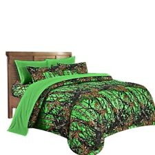 FULL BIOHAZARD GREEN CAMO COMFORTER BED SPREAD 1 PC CAMOUFLAGE MICROFIBER WOODS