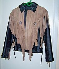 "Med/Lg 44"" Heavy Duty Motorcycle Western Leather Fringed Distressed Jacket Coat"