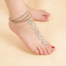 Ring Barefoot Beach Foot Jewelry Summer Vintage antique Silver Chain Anklet Toe