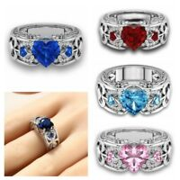 925 Silver Plated Wedding Jewelry Ring Heart Shape Sapphire Gemstones Ruby Rings