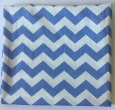 Cotton Fabric - Blue and White Chevron - 2 1/4 Yards
